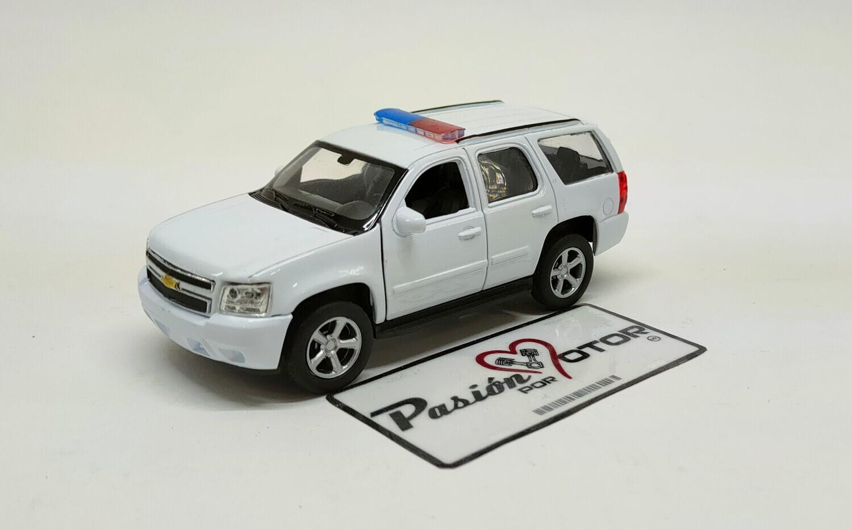 Welly 1:44 Chevrolet Tahoe SUV Patrulla Police 2008 Blanco Nex Display a Granel 1:43