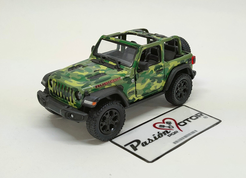 Kinsmart 1:34 Jeep Wrangler Rubicon SUV 2 Puertas Open Top 2018 Camuflaje Militar Verde Display a Granel 1:32