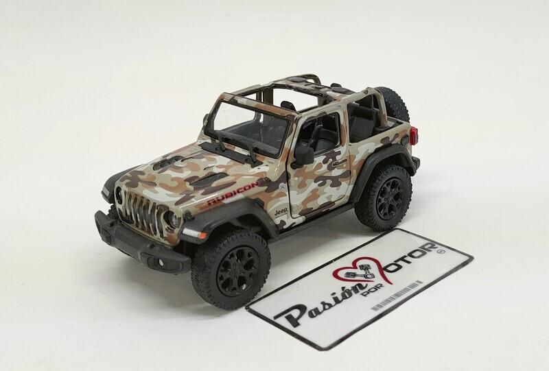 Kinsmart 1:34 Jeep Wrangler Rubicon SUV 2 Puertas Open Top 2018 Camuflaje Militar cafe Display a Granel 1:32