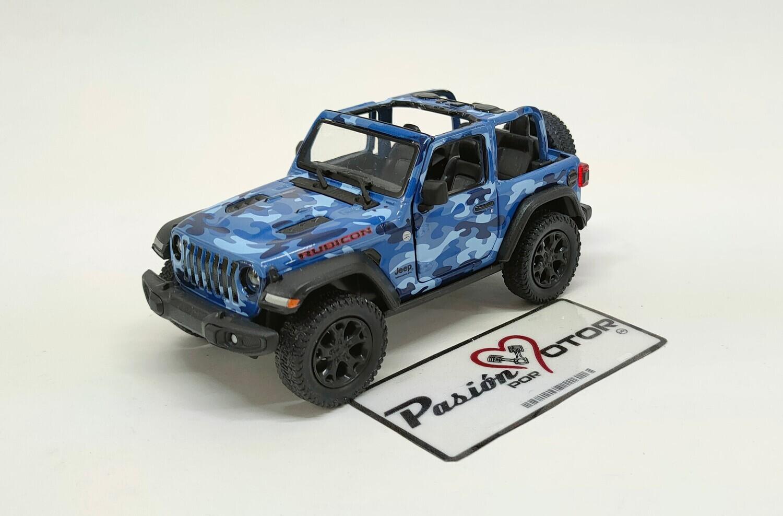 Kinsmart 1:34 Jeep Wrangler Rubicon SUV 2 Puertas Open Top 2018 Camuflaje azul Display a Granel 1:32 Militar