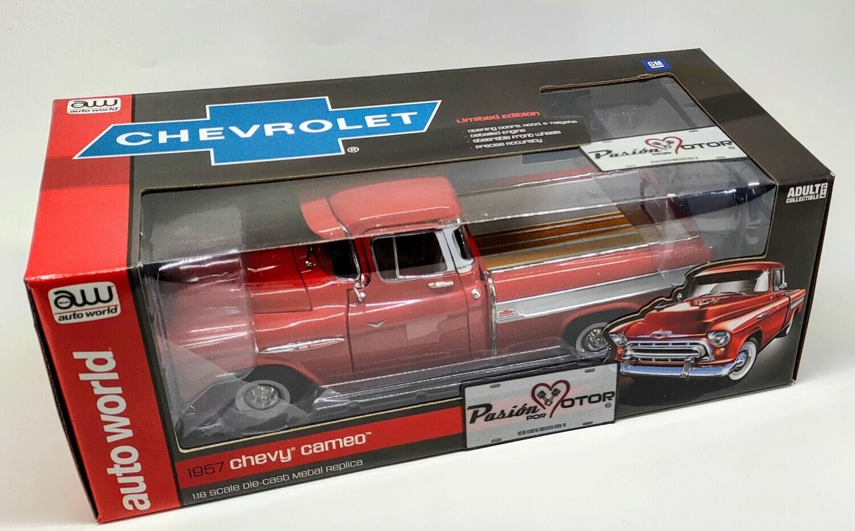 1:18 Chevrolet Cameo Pick Up 1957 Rojo Auto World