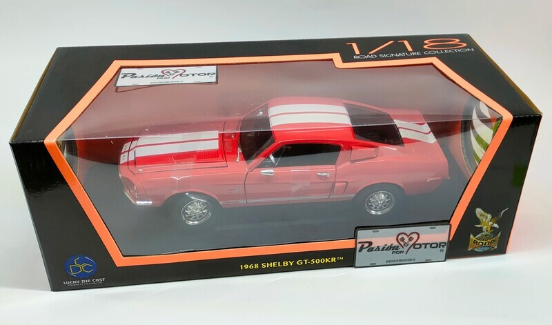1:18 Ford Mustang Shelby GT500KR 1968 Rojo Lucky Die Cast Yat Ming Road Signature