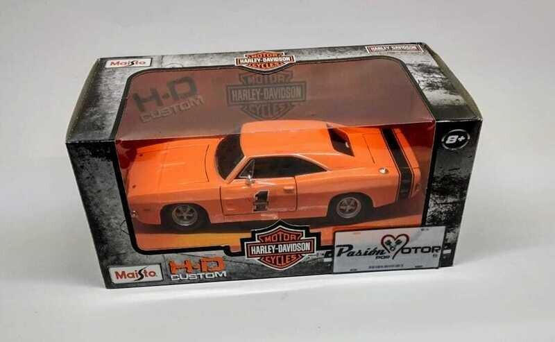 1:25 Dodge Charger R/T Coupe 1969 Naranja Maisto Harley Davidson Con Caja 1:24