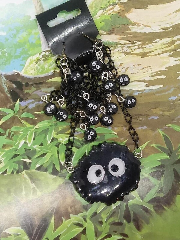 Soot Sprite Earrings and Necklace set