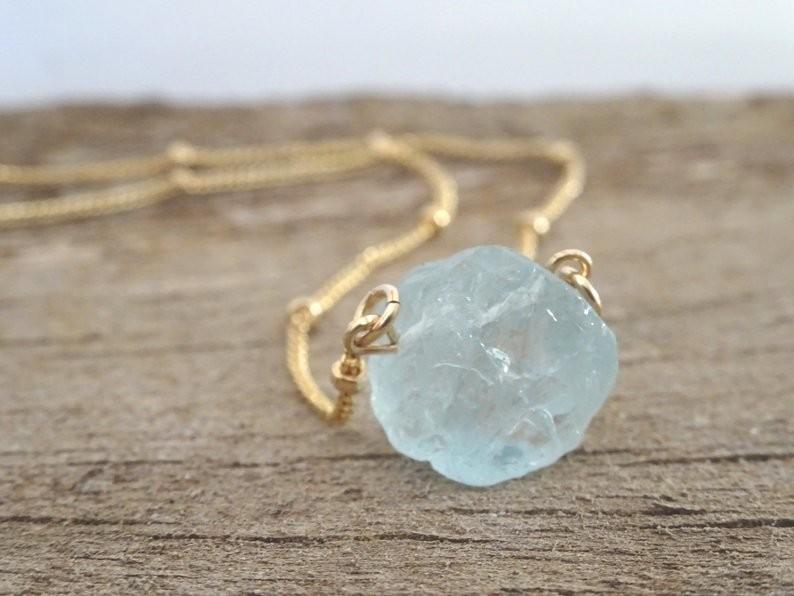 14k Gold Raw Aquamarine Healing Stone Necklace