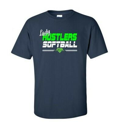 Navy Lady Hustlers Softball Cotton Tee