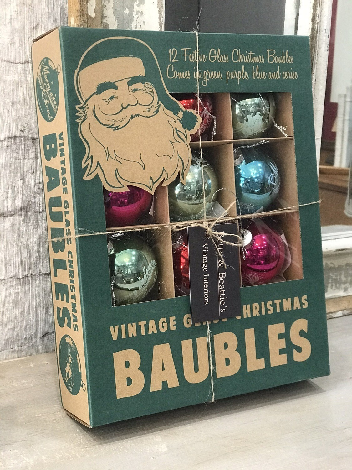 Vintage Style Glass Baubles - Box Of 12