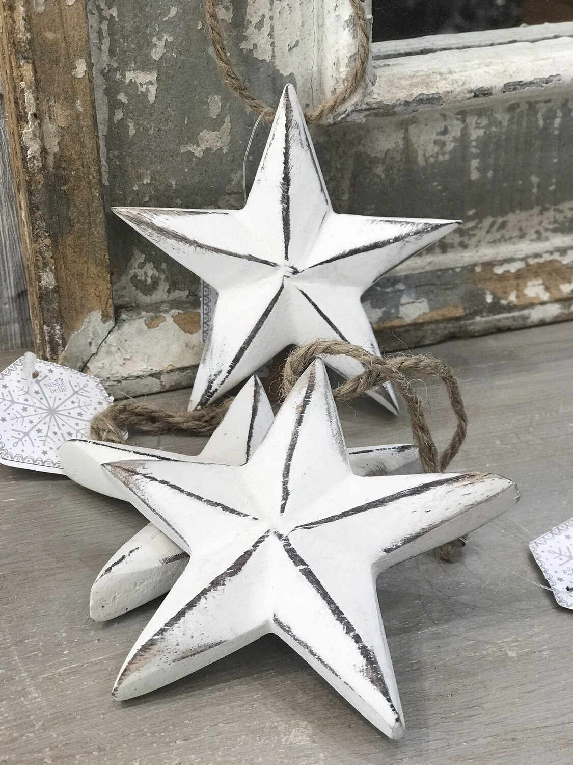 White Rustic Star Hanging Decoration