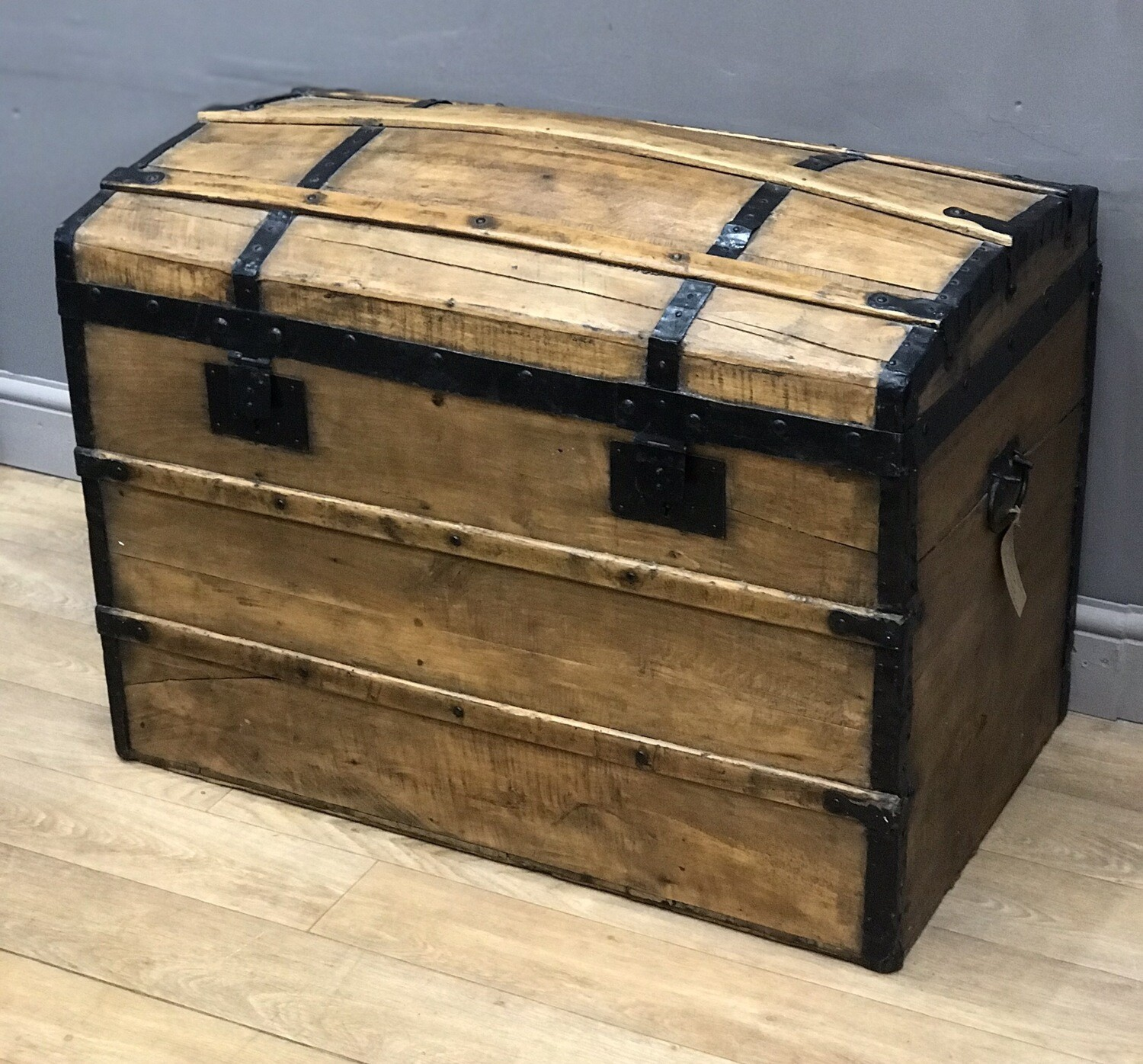 Vintage Pine Banded Dome Top Storage Chest