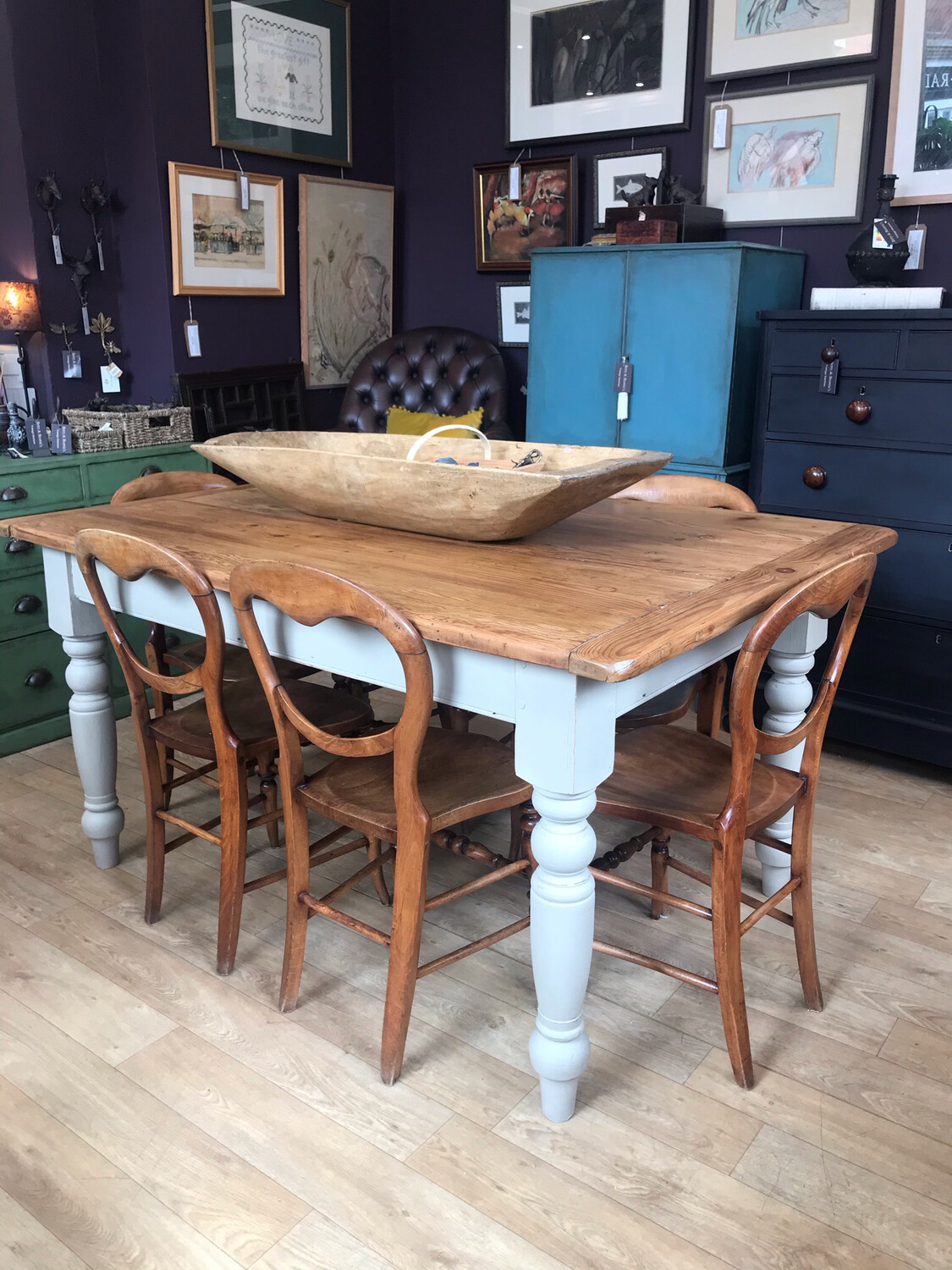 Victorian Pine Dining Table / Kitchen Table