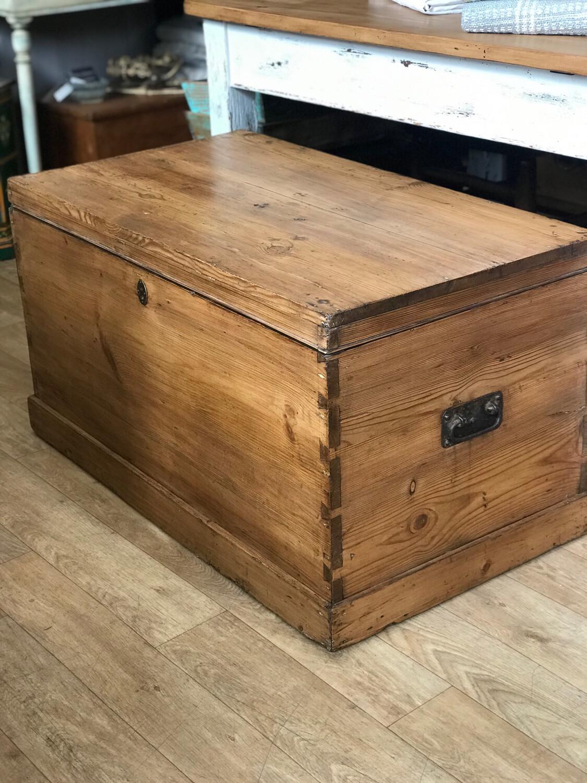 Victorian Pine Trunk / Chest / Blanket Box