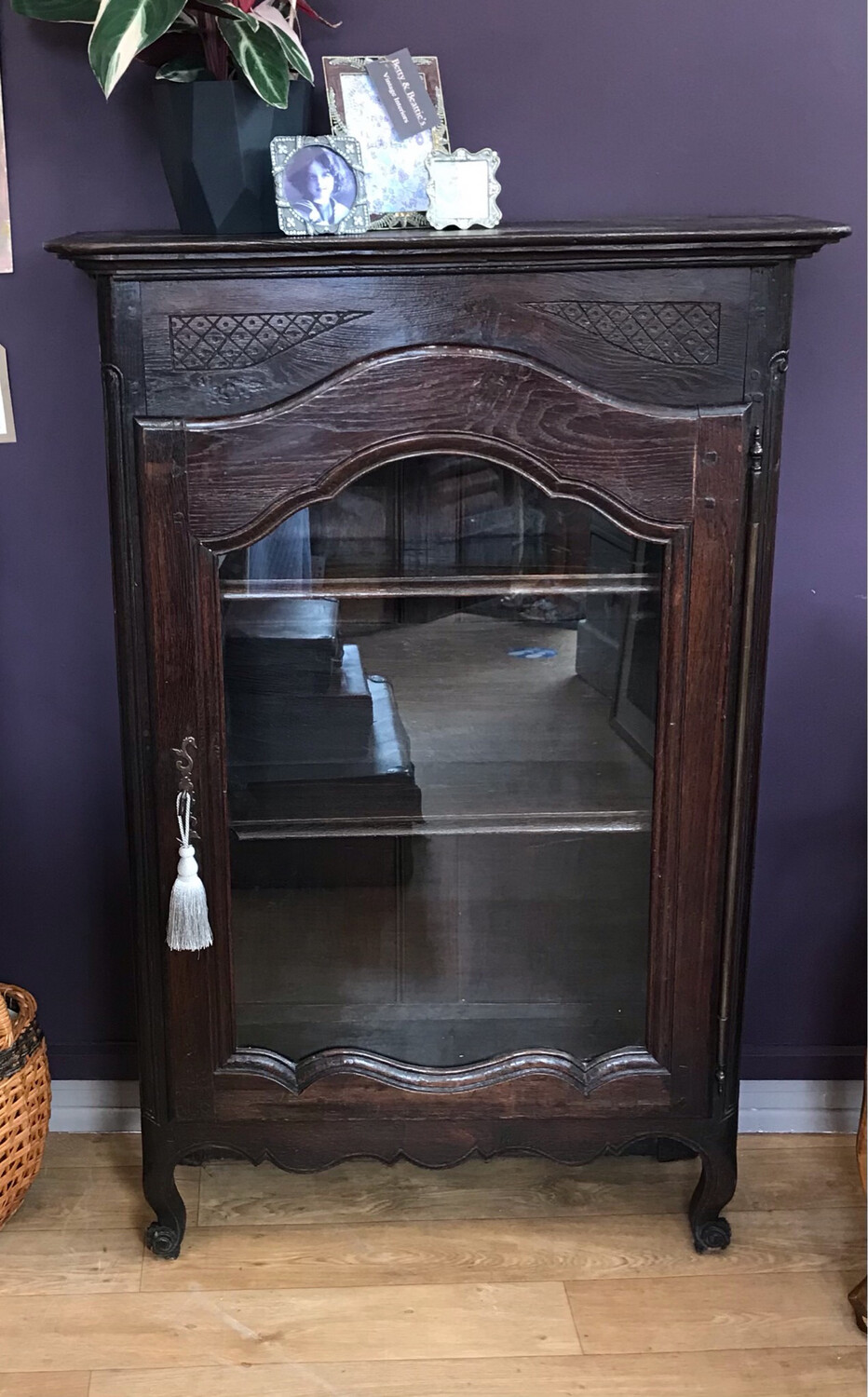 Antique French Oak Display Cabinet