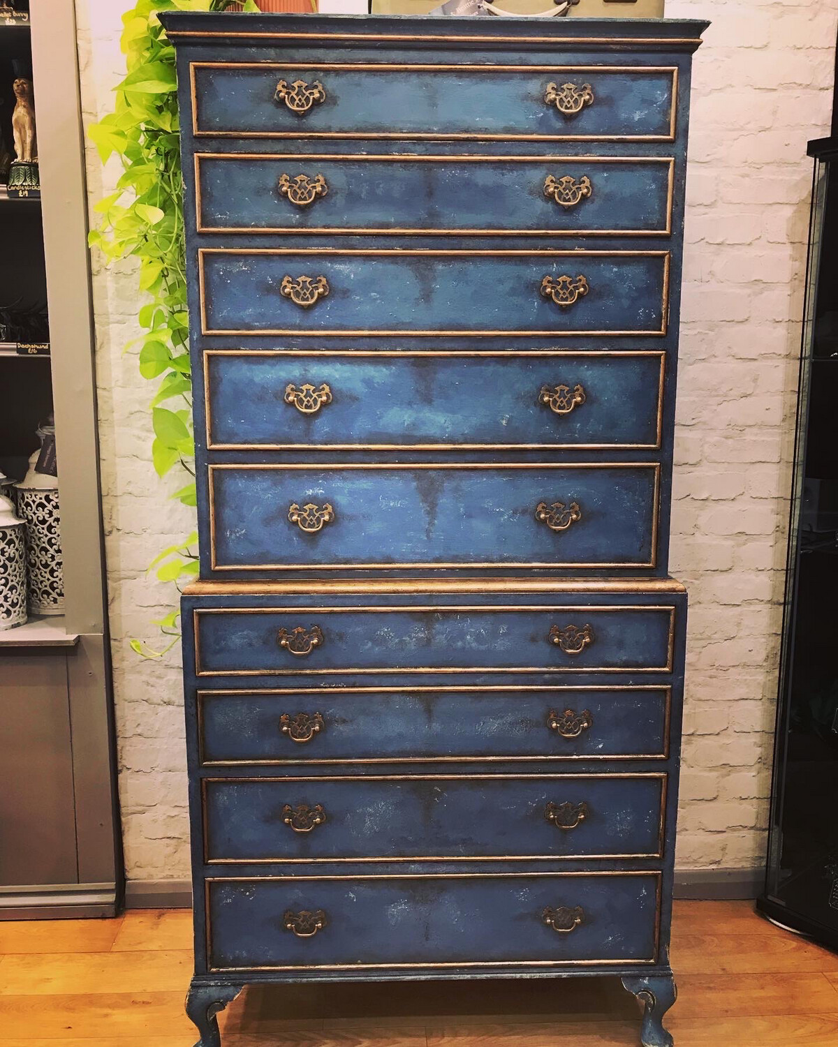 Vintage Hand Painted Chest On Chest Of Drawers