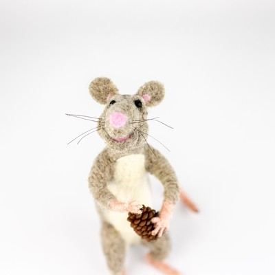 Felted Mouse with Pinecone