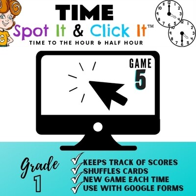 TIME Game 5 (hour & half hour) Spot It & Click It™