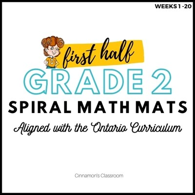 Grade 2 Spiral Math Mats | FIRST HALF (weeks 1-20)