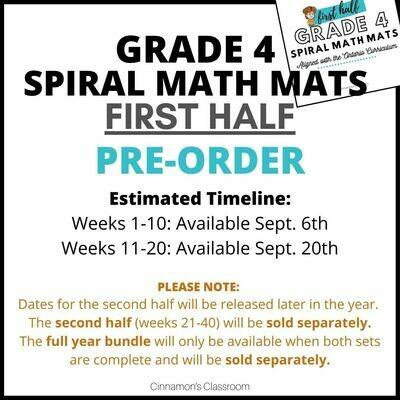 Grade 4 Spiral Math Mats | FIRST HALF (weeks 1-20) **PRE-ORDER**