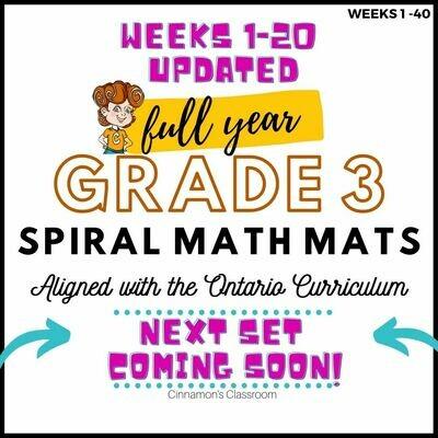 Grade 3 Ontario Math | Spiral Math Mats | Full Year Pack