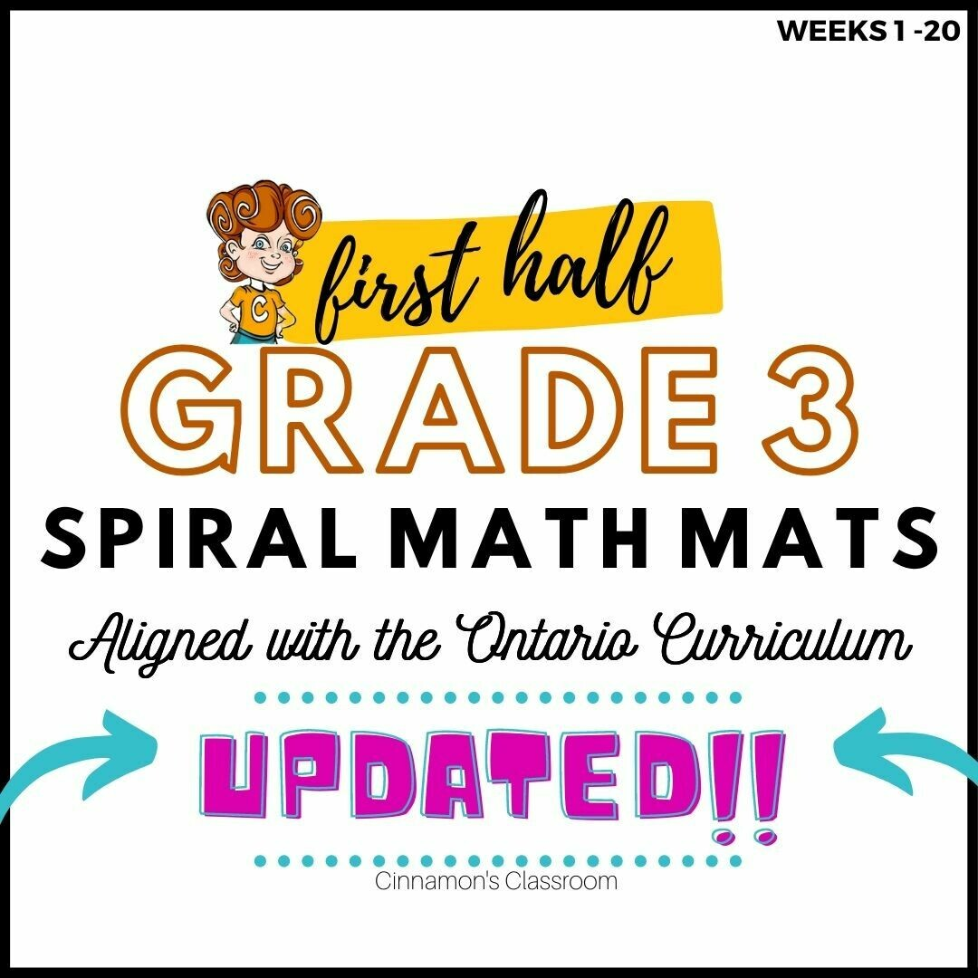 Grade 3 Spiral Math Mats | FIRST HALF (weeks 1-20)