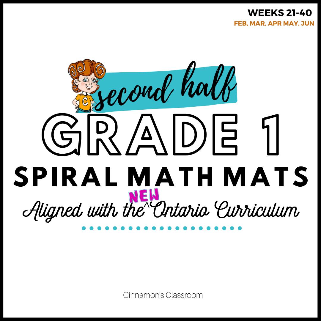 Grade 1 Spiral Math Mats | SECOND HALF (weeks 21-40)