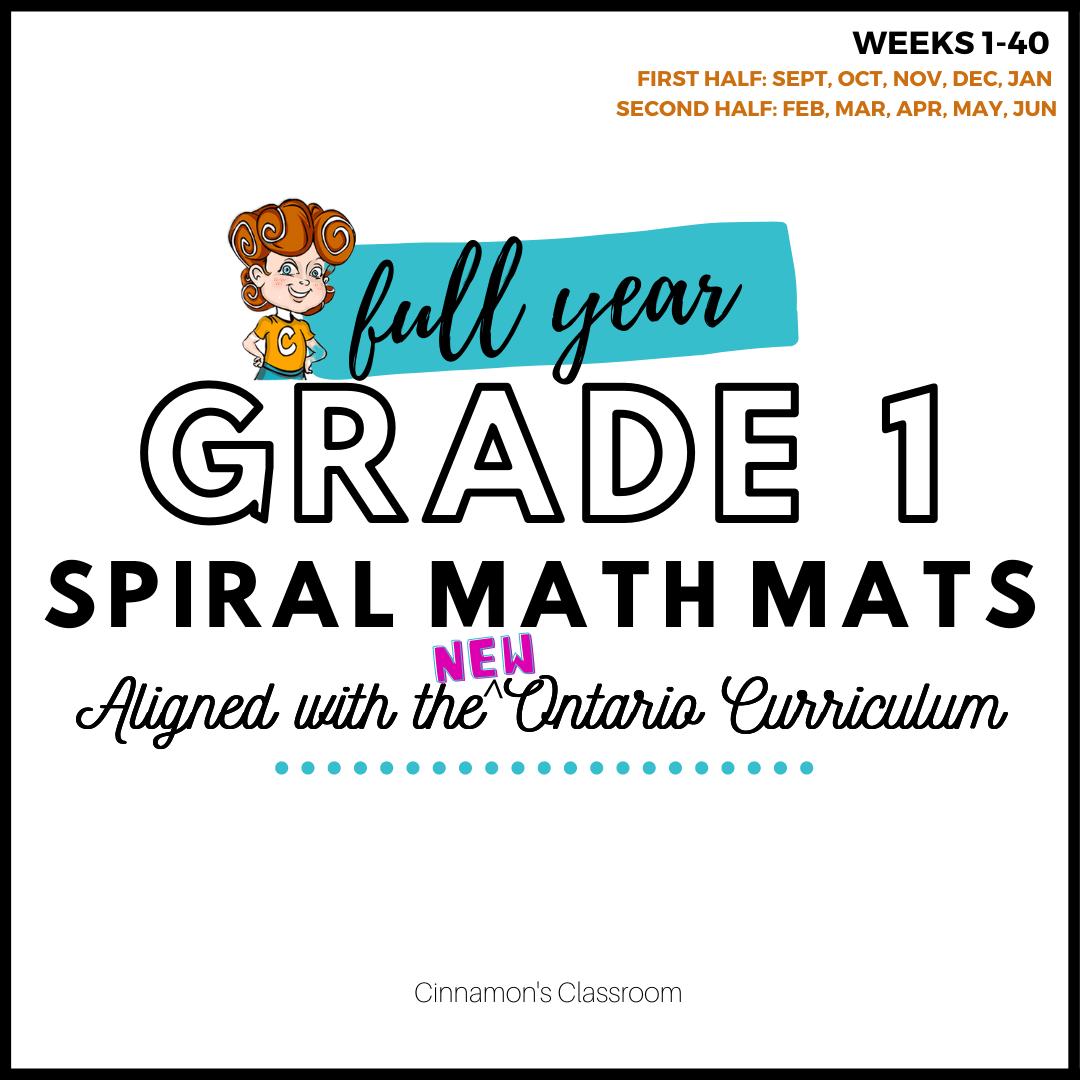 Grade 1 Ontario Math | Spiral Math Mats | Full Year Pack