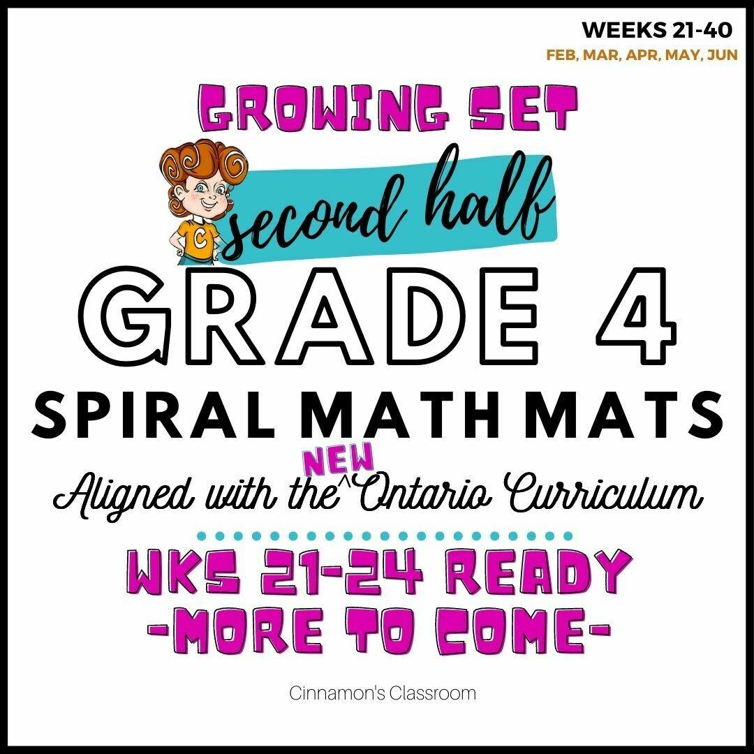 Grade 4 Spiral Math Mats | SECOND HALF (weeks 21-40)