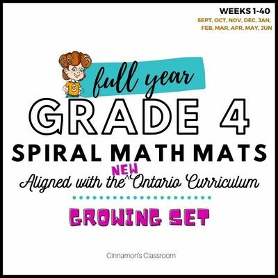 Grade 4 Ontario Math | Spiral Math Mats | Full Year GROWING BUNDLE
