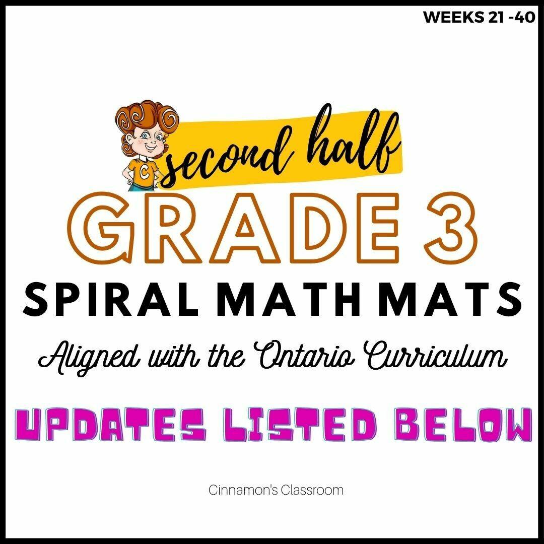 Grade 3 Spiral Math Mats | SECOND HALF (weeks 21-40)