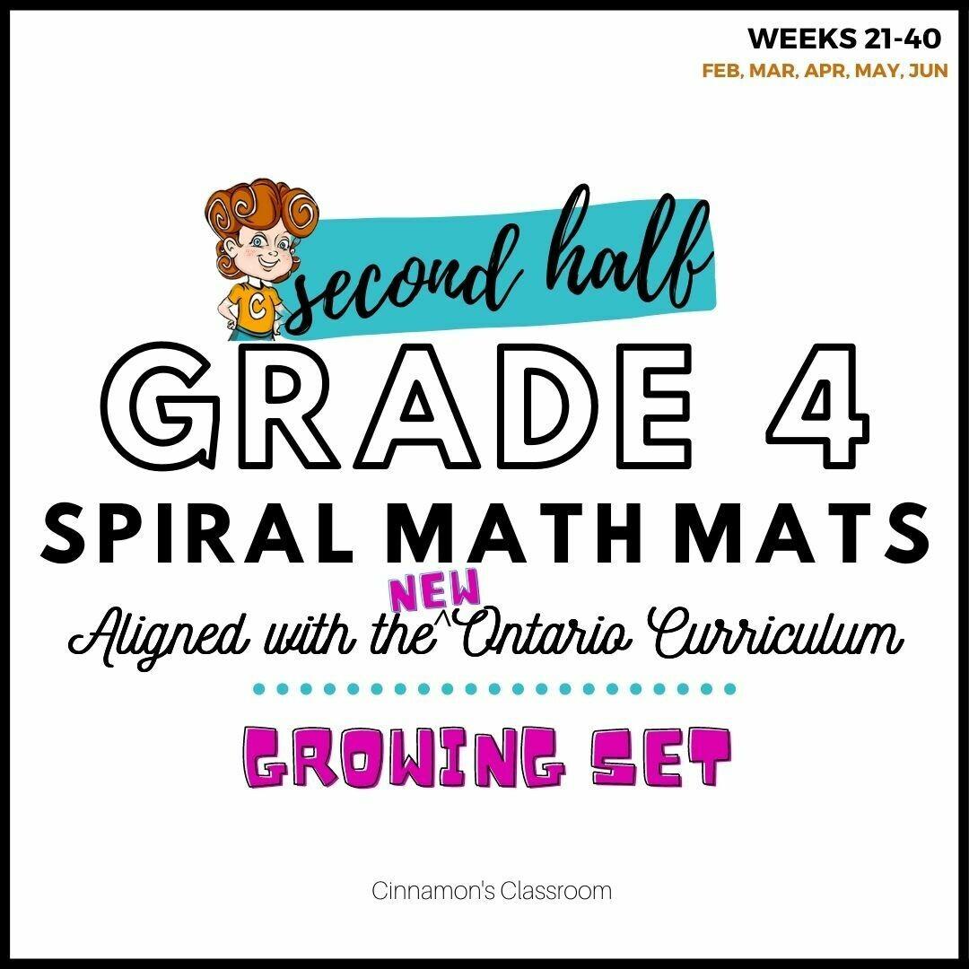 Grade 4 Spiral Math Mats   SECOND HALF (weeks 21-40)