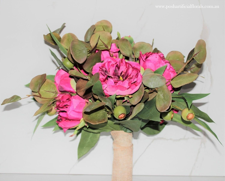 Deep Pink Peony Roses Eucalyptus Gum Bouquet Hire