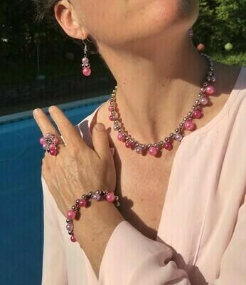 Ensemble Bijoux Romane Rose