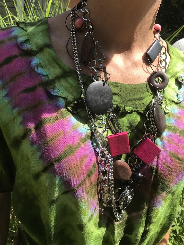 Ensemble Bijoux Triple Chaîne Rose