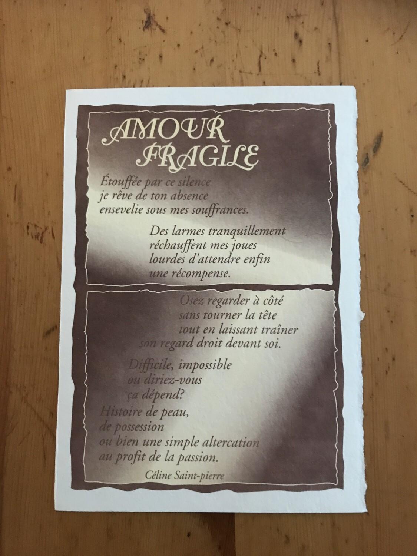 POÈME AMOUR FRAGILE