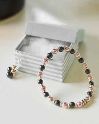 Hematide Magnetic Beaded Bracelet and Earring Set