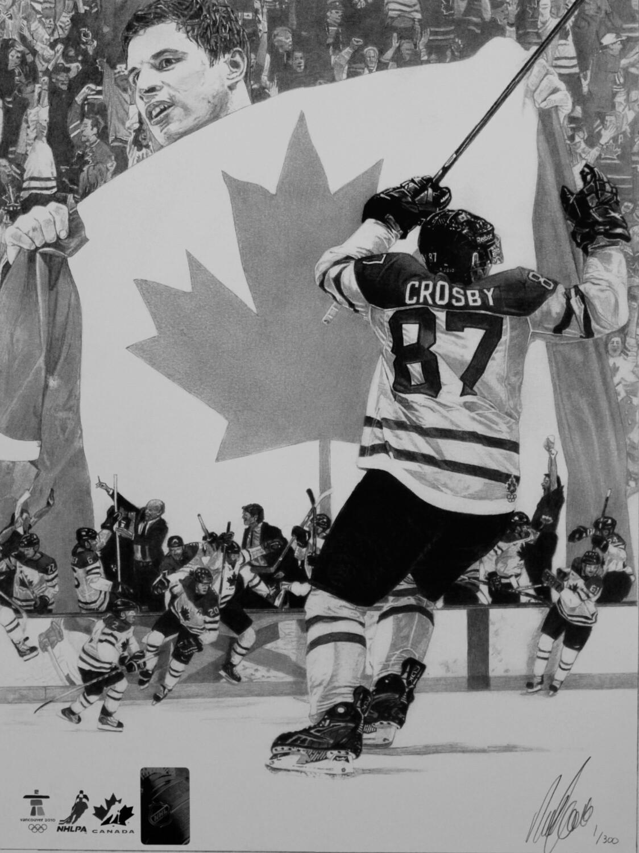 "Sidney Crosby Golden Goal   10 3/4"" x 14"" ART PRINT"