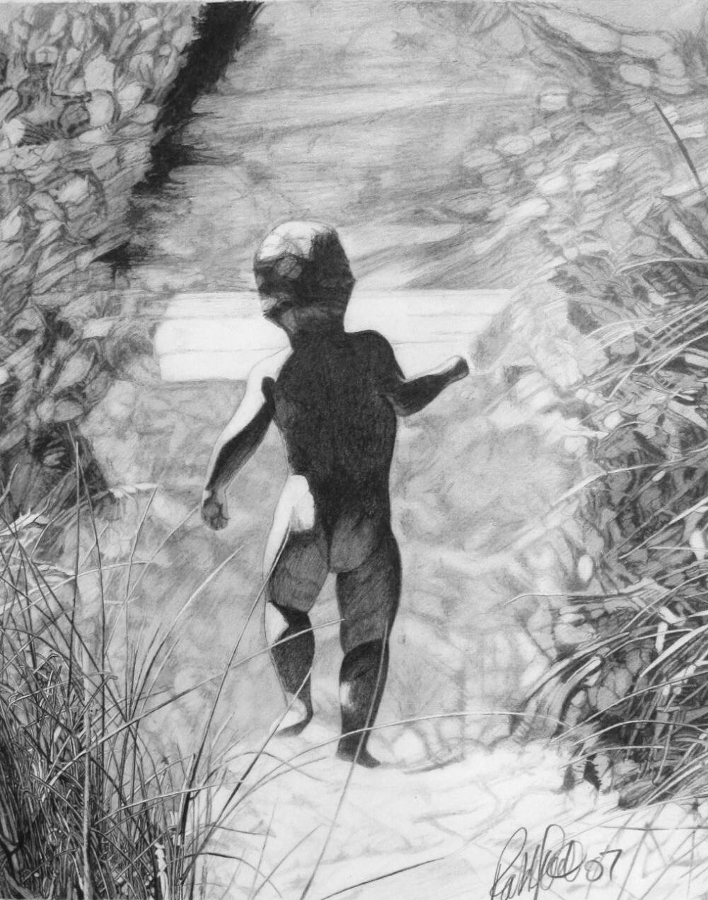 """Boy at the beach   10"""" x 12""""   ART PRINT"""