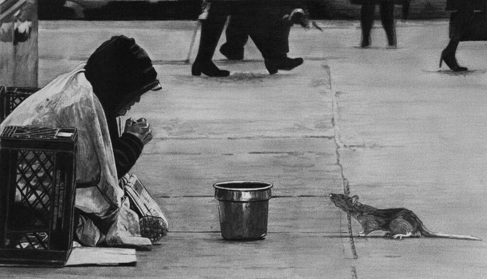 "Homeless Man and Rat | 8"" x 13.5"" | ART PRINT"