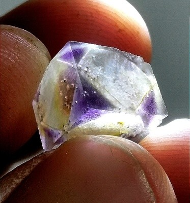 Iron Included Purple Phantom Fluorite Cube - Astro Pocket Colorado