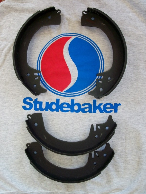 NEW Studebaker  Brake Shoes 1963-64 Hawk 1963-66 Lark 1963-early 71 Avanti rear with front disc. Truck: E-2E 5, 6, 7 & 3E-7E 1,2,3,5,7 front & rear