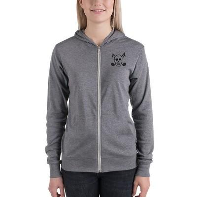 Skull & Bones - Unisex zip hoodie (Gray)