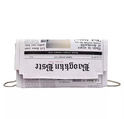 Newspaper Print Purse