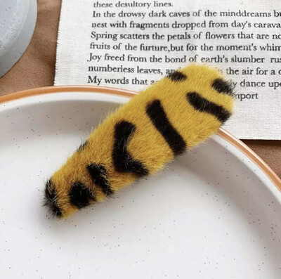 2pc Yellow Leopard Print Plush Hair Clips