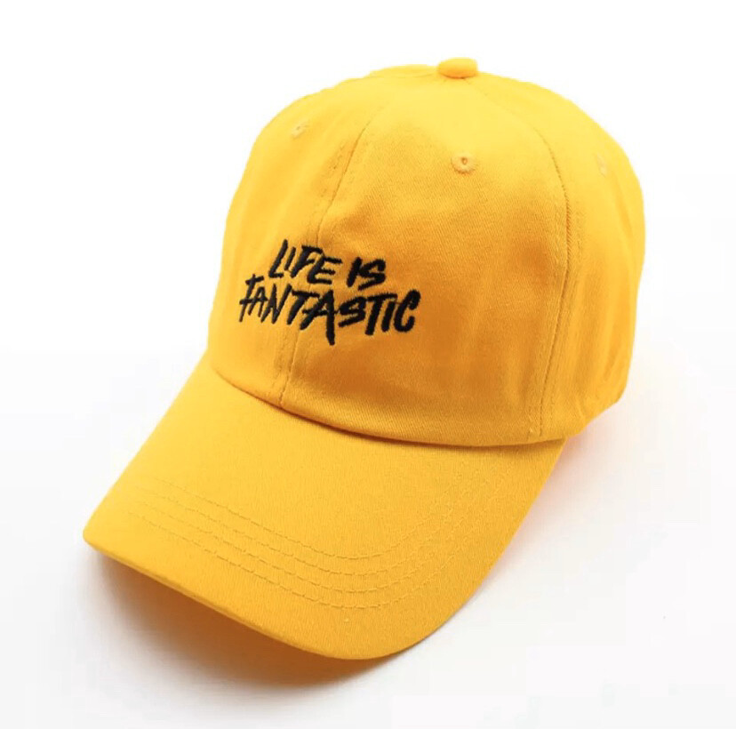 """""""Life Is Fantastic"""" Yellow Dad Hat"""