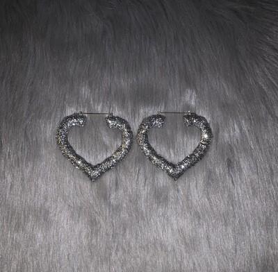 Silver Glitter Heart Bamboos (LARGE)