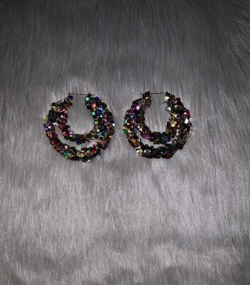 Confetti Sequin Double Hoop Bamboos (LARGE)