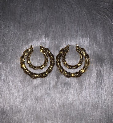 Gold Glitter Double Hoop Bamboos (LARGE)