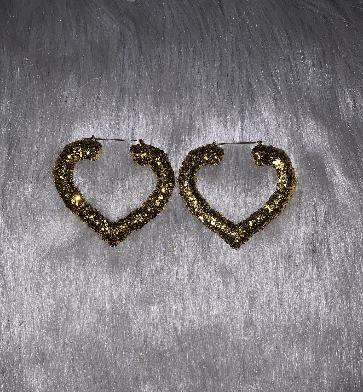 Gold Glitter Heart Bamboos (LARGE)