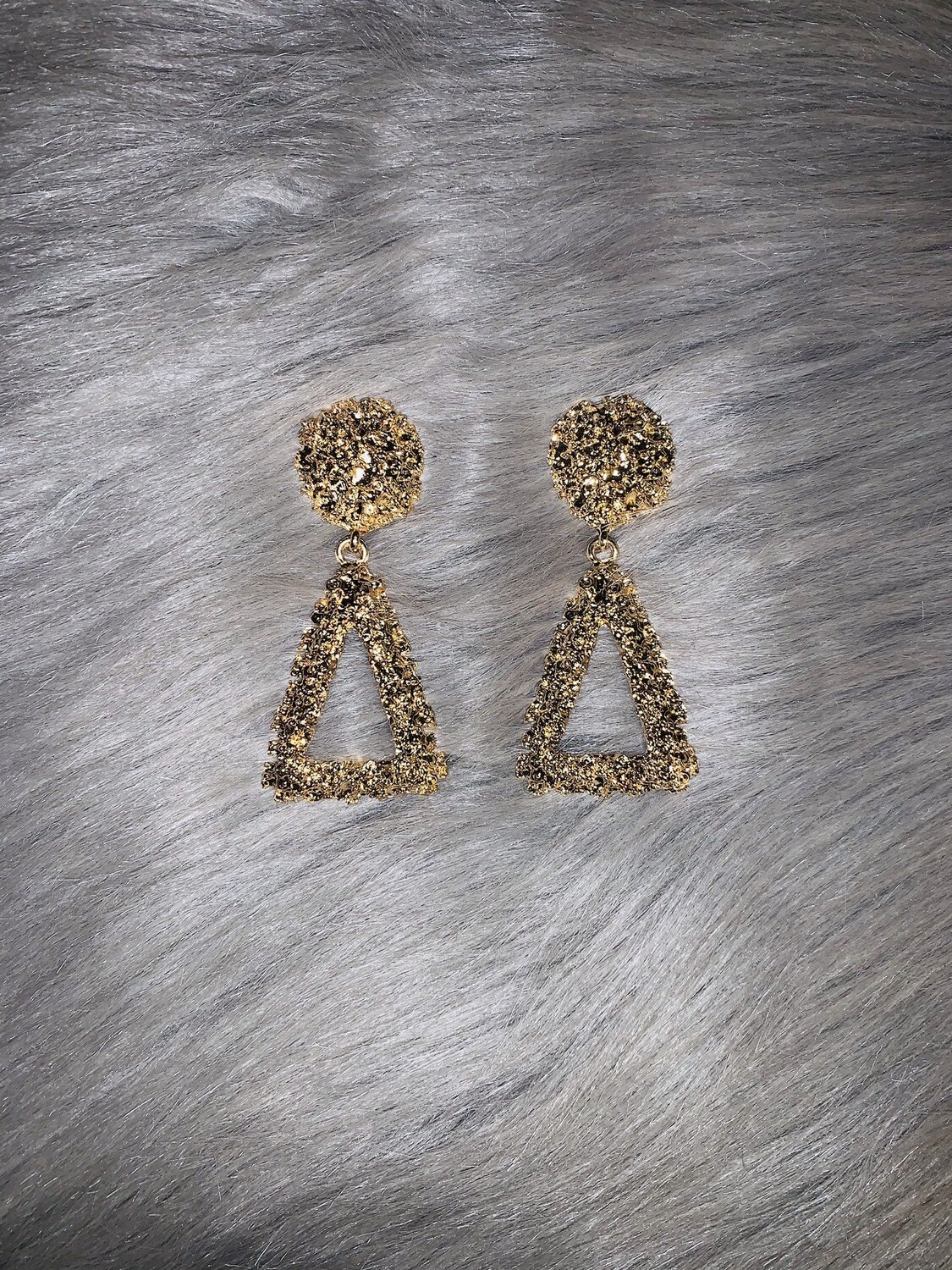 """""""Gold Cluster"""" Triangle Earrings"""