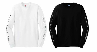 Unisex Break the Silence Long Sleeve Tshirts - Adult and Youth Sizes