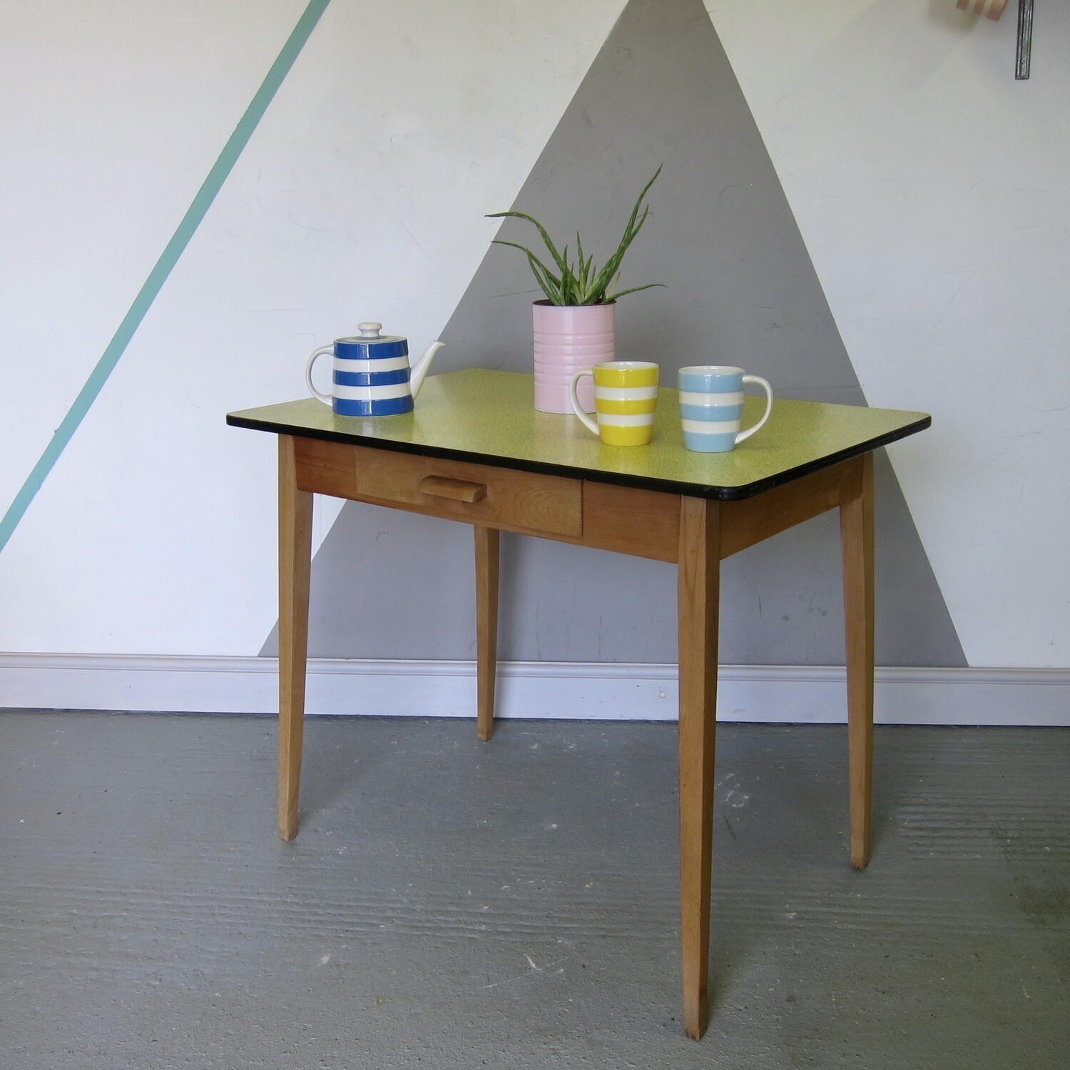 Yellow Formica Kitchen Vintage Dining Table Vintage